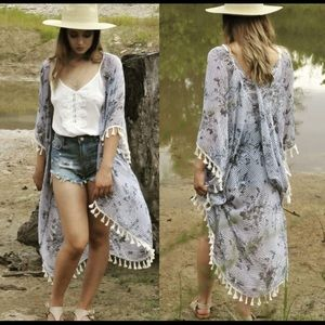 Accessories - Gray striped floral kimono.